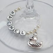 Duck Personalised Wine Glass Charm